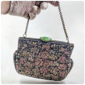 Vtg/Antique Petit Point Edwardian tapestry bag